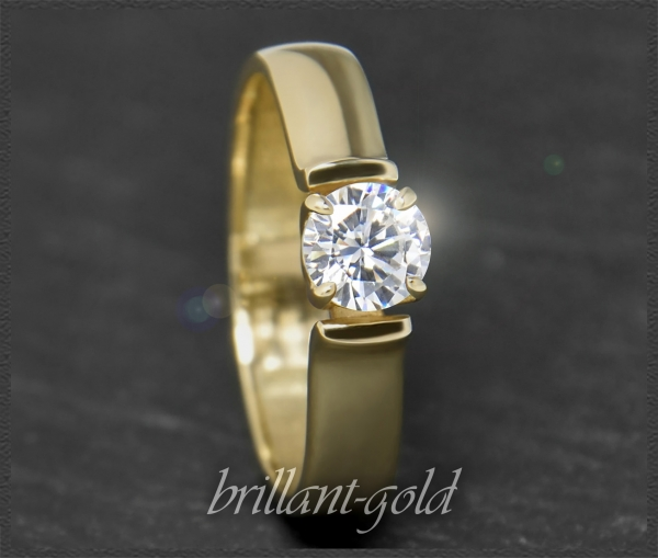 Brillant 585 Gold Ring; 0,51ct, Si2; DGI Zertifikat