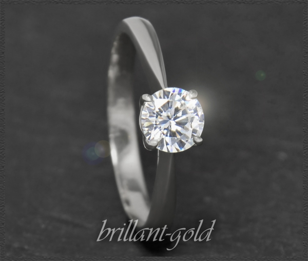 Brillant 585 Weißgold Ring 0,75ct ; River E, Si2