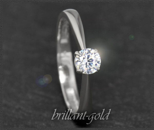 Brillant 585 Weißgold Ring; 0,37ct, River E, VVS