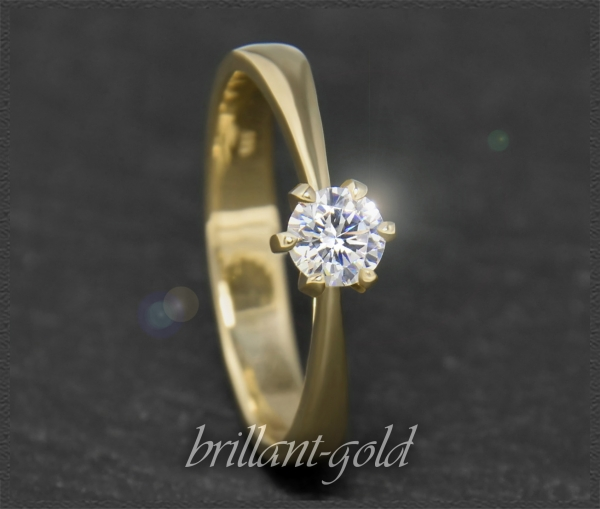 Brillant 585 Gold Ring, 0,40ct, VS2; DGI Zertifikat