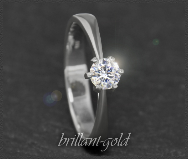 Brillant 585 Weißgold Ring; 0,33ct, River D, VVS