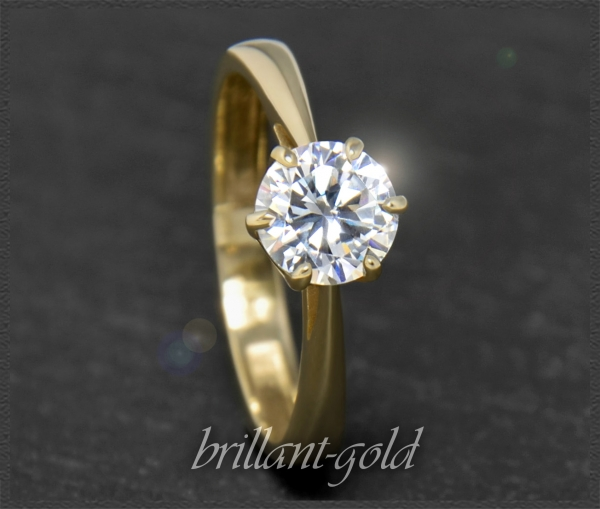 Brillant Ring 585 Gold, 1,04ct, Top Wesselton F