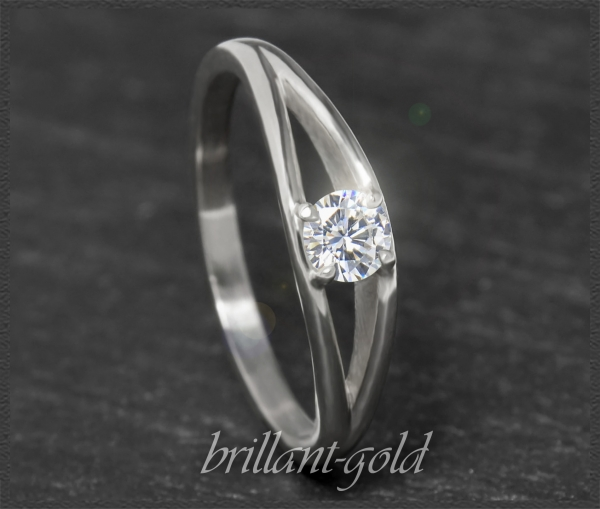 Brillant 585 Weißgold Ring; 0,24 ct, VVS1