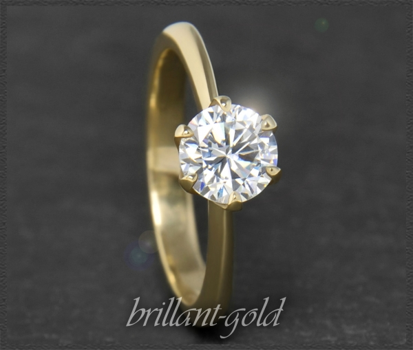 Brillant 585 Gelbgold Ring; 1ct; Lupenrein