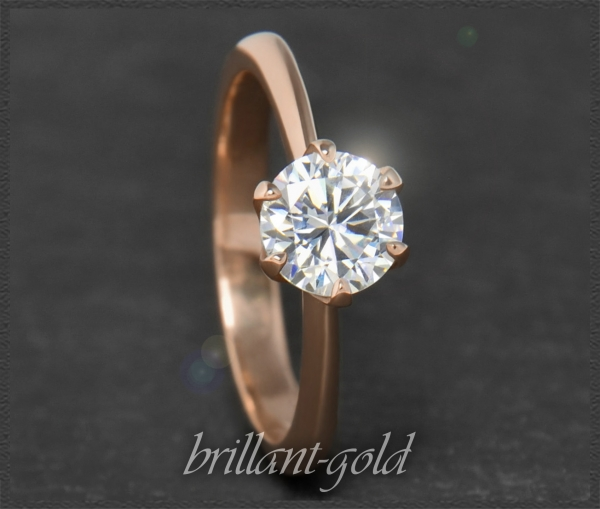 Brillant 585 Gold Ring; 1,03ct, VS1; Rotgold