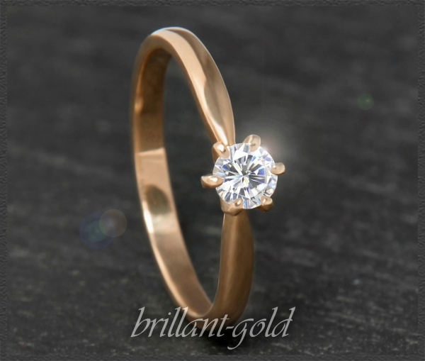 Brillant 585 Gold Ring 0,26ct; Si1; DGI Zertifikat