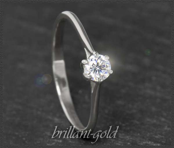 Brillant 585 Gold Ring 0,25ct, Top Wesselton; Si2