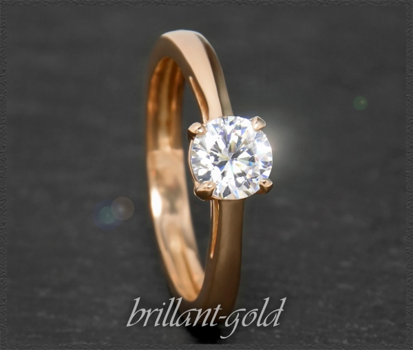 Brillant 585 Gold Solitär Ring, 0,93ct, River D