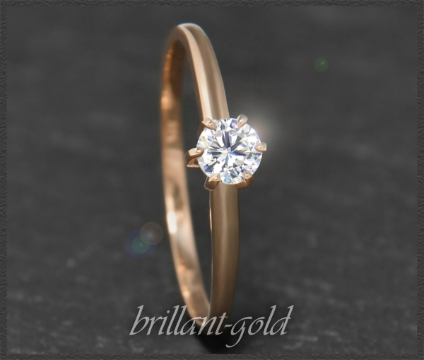 Brillant 585 Gold Ring 0,29ct; River D, Lupenrein