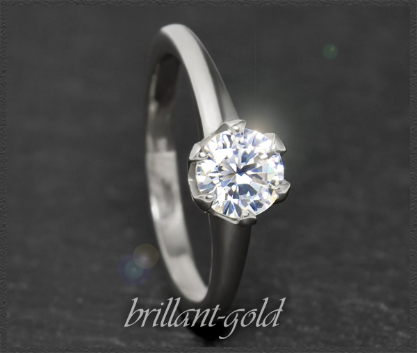 Brillant 585 Weißgold Ring, 1,03ct, Si1