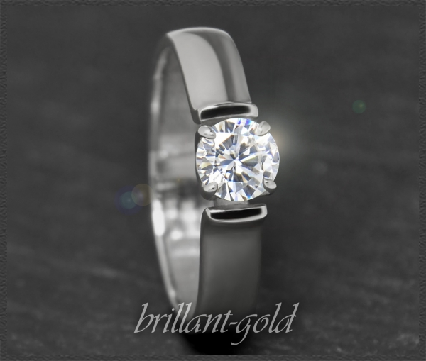 Brillant 585 Weißgold Ring, 0,59ct, River E, Si1-2