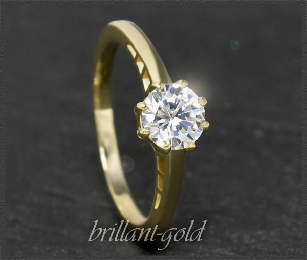Brillant 585 Gelbgold Ring 0,99ct, River, Si1