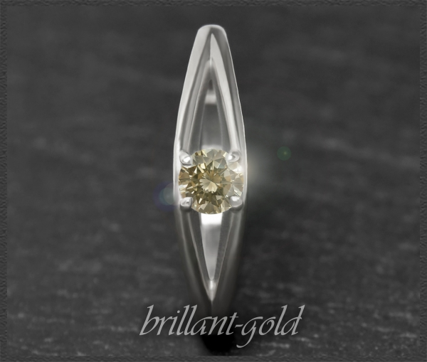 Brillant 585 Gold Ring; 0,26ct, champagner, Si1