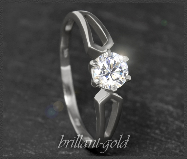 Brillant Solitär 585 Weißgold Ring 0,58ct, VS2