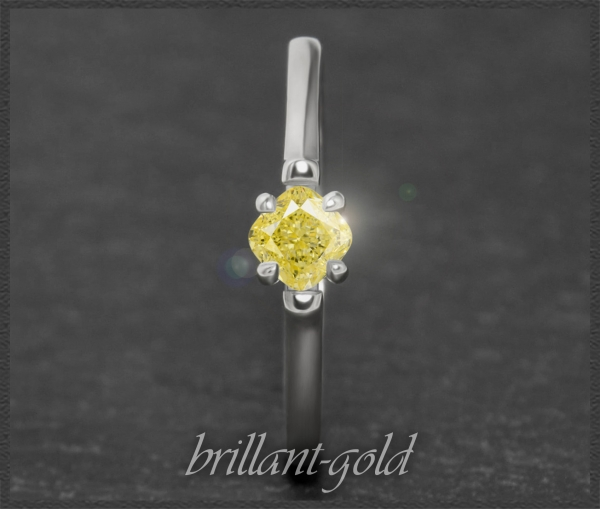 Diamant 585 Gold Ring 0,55ct; intensiv Gelb