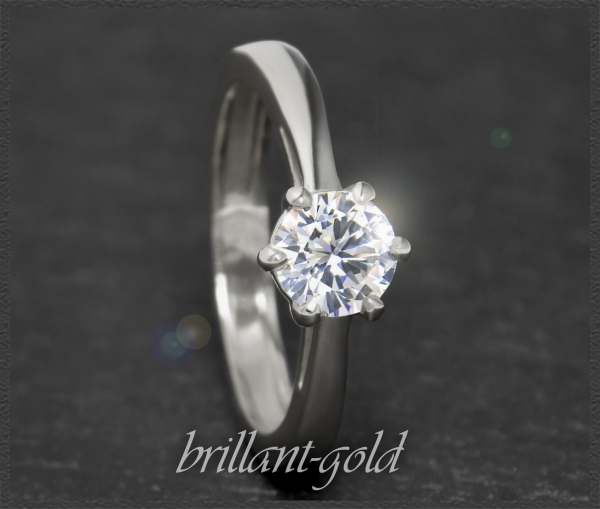 Brillant 585 Gold Solitär Ring; 0,87ct, Si1
