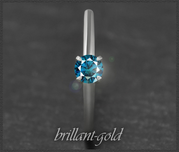 Brillant 585 Weißgold Ring; 0,32ct, blau, Si