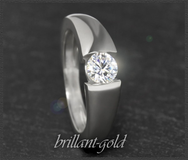 Brillant 585 Gold Ring mit 0,48ct, River E & VVS2