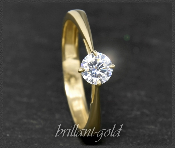 Brillant 585 Gold Ring 0,58 ct, Top Wesselton, VS2