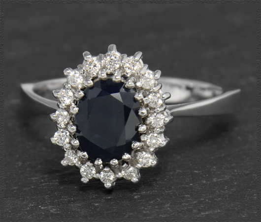4,20ct Diamant Brillant & Saphir Ring, Vintage 1950