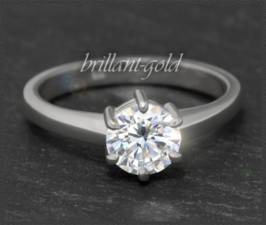 Brillant 585 Weißgold Ring, 1,02ct, Wesselton